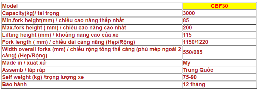 XE NÂNG TAY MITSUBISHI CAT CBF30 (TẢI TRỌNG 3000KG)