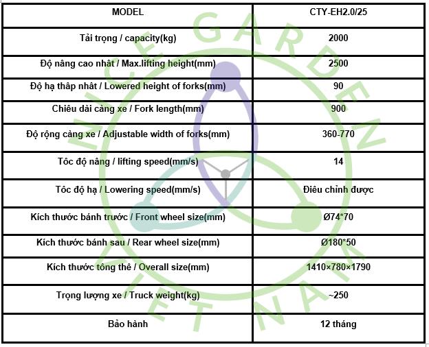 XE NÂNG TAY CAO GIÁ RẺ CTY-EH2.0/25 (TẢI TRỌNG 2000 KG)